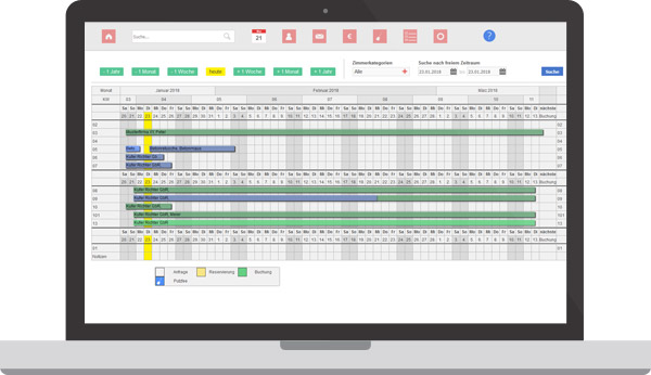 Belegungskalender der Boardinghouse Software